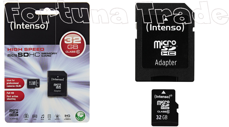 intenso 32gb micro sdhc speicherkarte class 10 card inkl. Black Bedroom Furniture Sets. Home Design Ideas